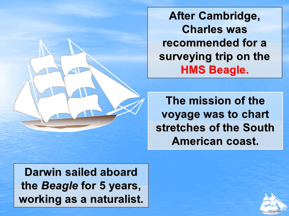Darwin sailed aboard the Beagle for 5 years, working as a naturalist.