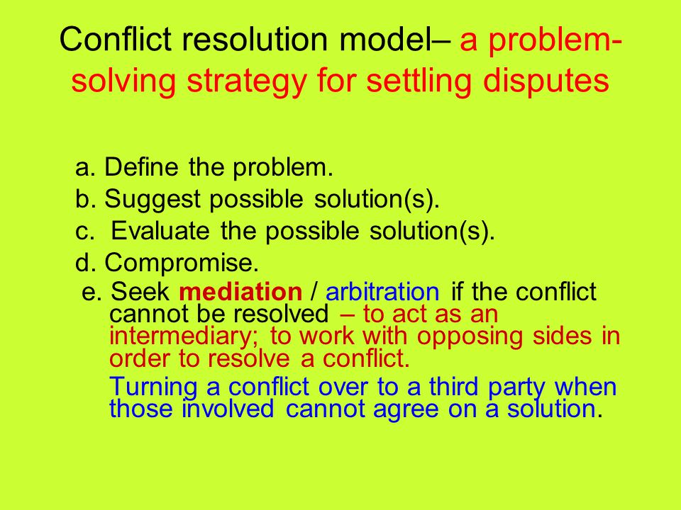 Conflict resolution model– a problem-solving strategy for settling disputes