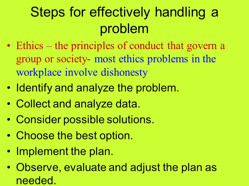 Steps for effectively handling a problem