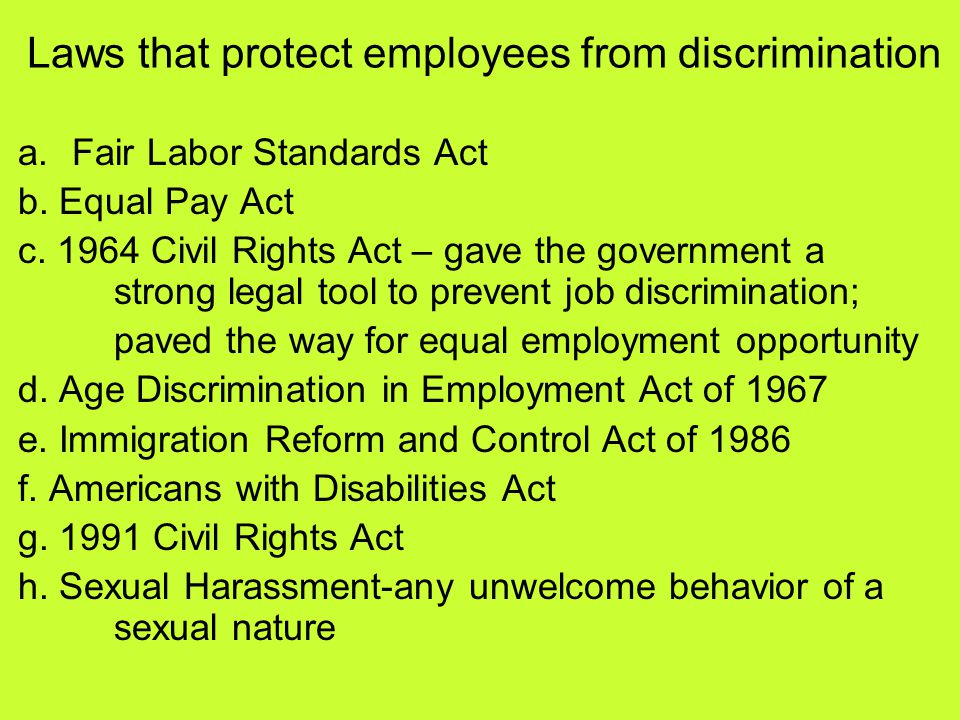 Laws that protect employees from discrimination