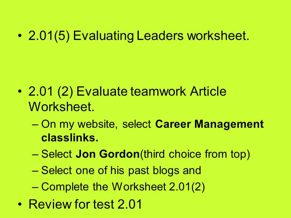 2.01(5) Evaluating Leaders worksheet.
