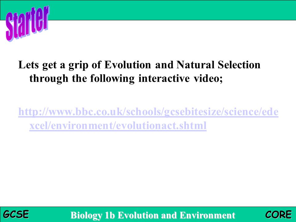 Starter Lets get a grip of Evolution and Natural Selection through the following interactive video;