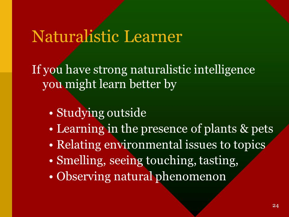 Naturalistic Learner If you have strong naturalistic intelligence you might learn better by. Studying outside.