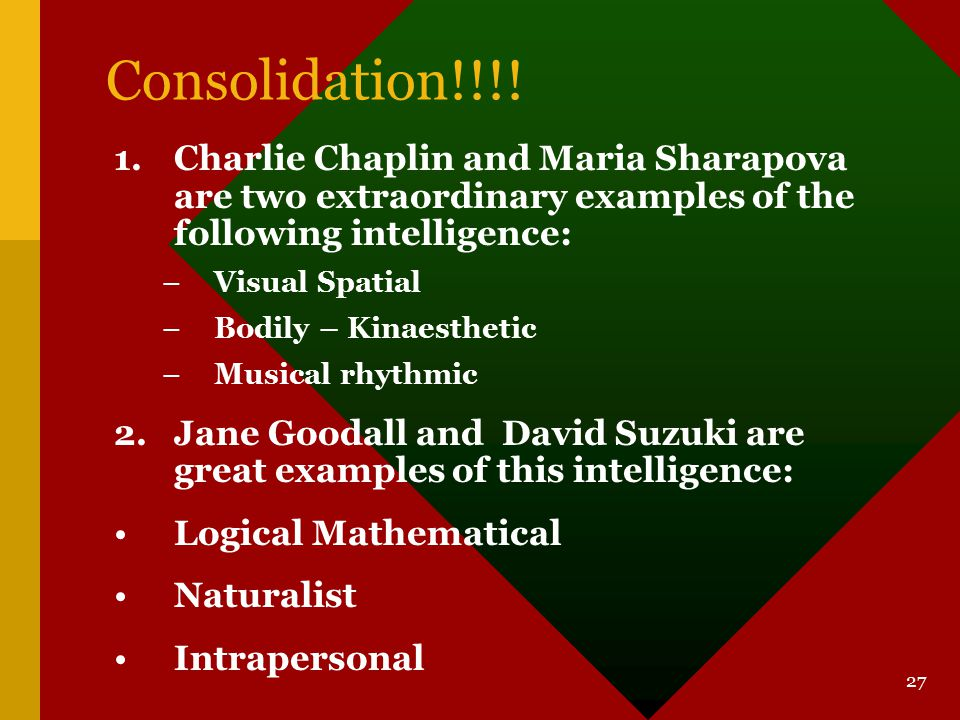 Consolidation!!!! Charlie Chaplin and Maria Sharapova are two extraordinary examples of the following intelligence: