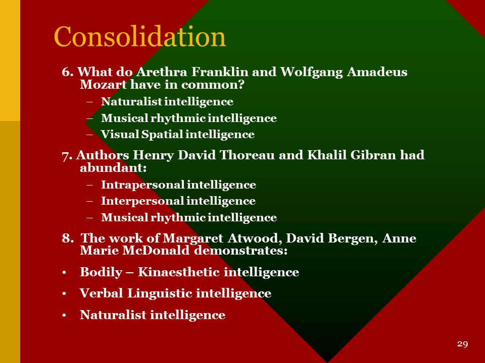 Consolidation 6. What do Arethra Franklin and Wolfgang Amadeus Mozart have in common Naturalist intelligence.