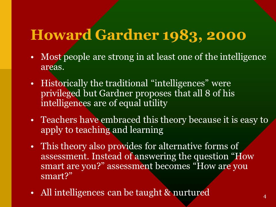 Howard Gardner 1983, 2000 Most people are strong in at least one of the intelligence areas.