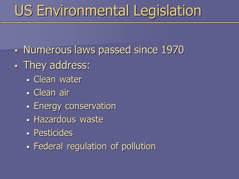 US Environmental Legislation