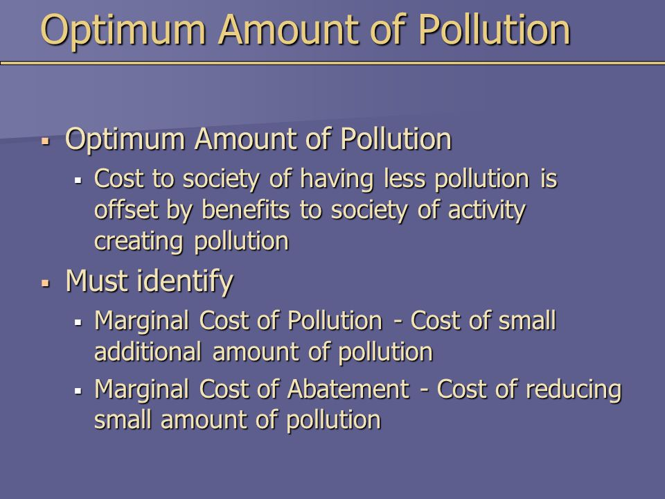Optimum Amount of Pollution