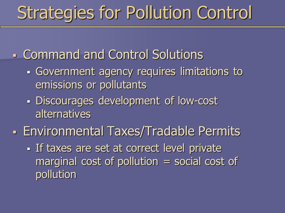 Strategies for Pollution Control