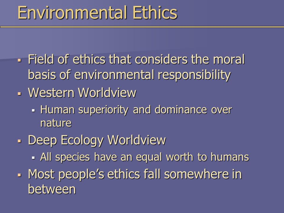 Environmental Ethics Field of ethics that considers the moral basis of environmental responsibility.