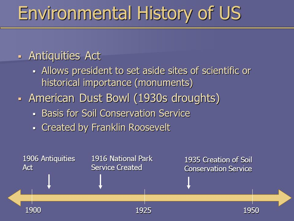 Environmental History of US