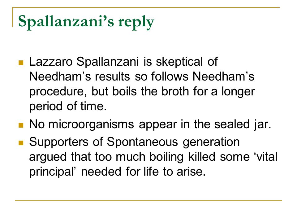 Spallanzani's reply