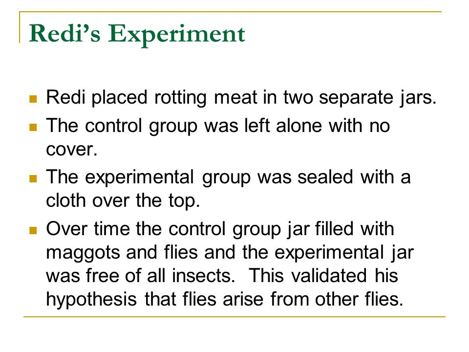 Redi's Experiment Redi placed rotting meat in two separate jars.