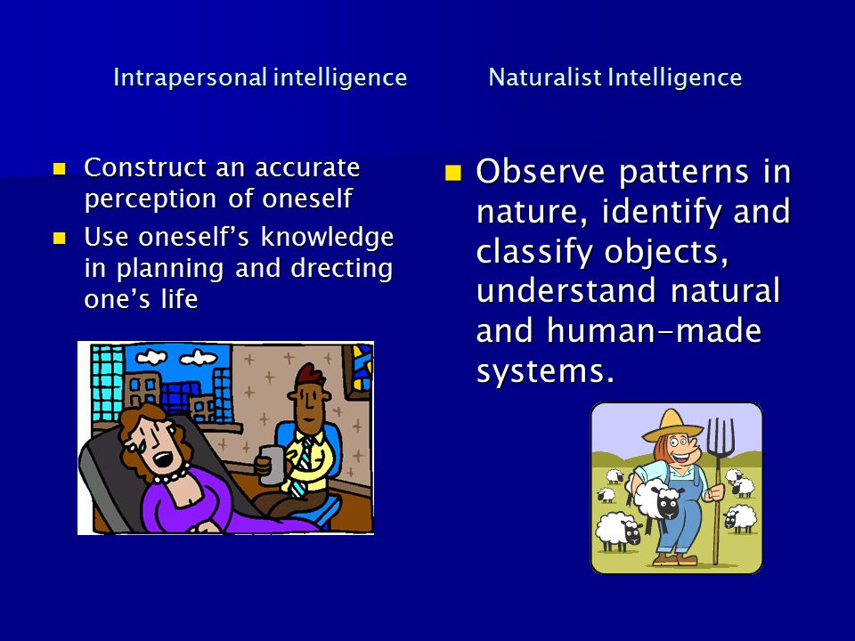 Intrapersonal intelligence Naturalist Intelligence