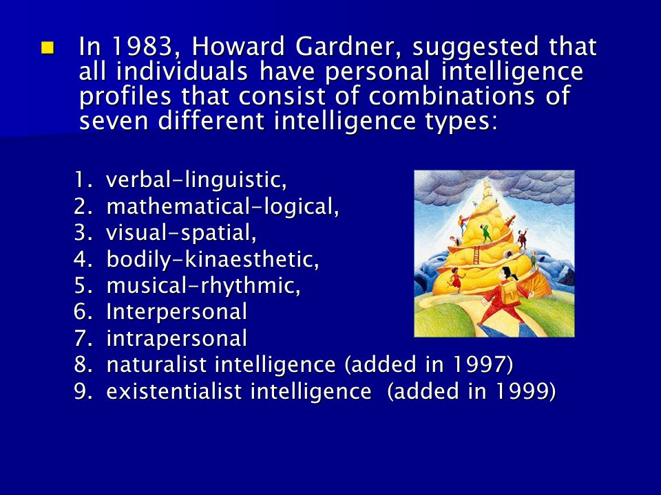 In 1983, Howard Gardner, suggested that all individuals have personal intelligence profiles that consist of combinations of seven different intelligence types: