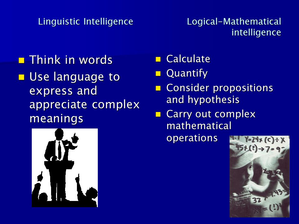 Linguistic Intelligence Logical-Mathematical intelligence