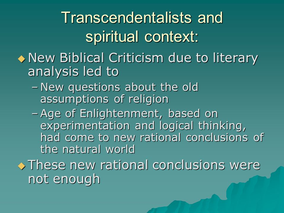 Transcendentalists and spiritual context: