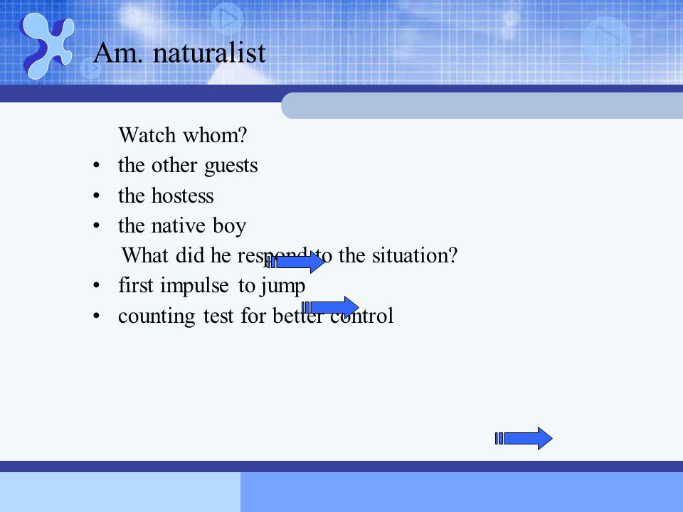 Am. naturalist Watch whom the other guests the hostess the native boy