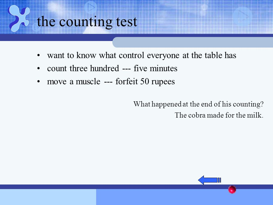 the counting test want to know what control everyone at the table has