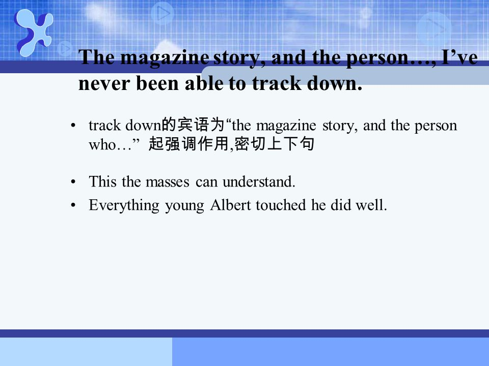 The magazine story, and the person…, I've never been able to track down.
