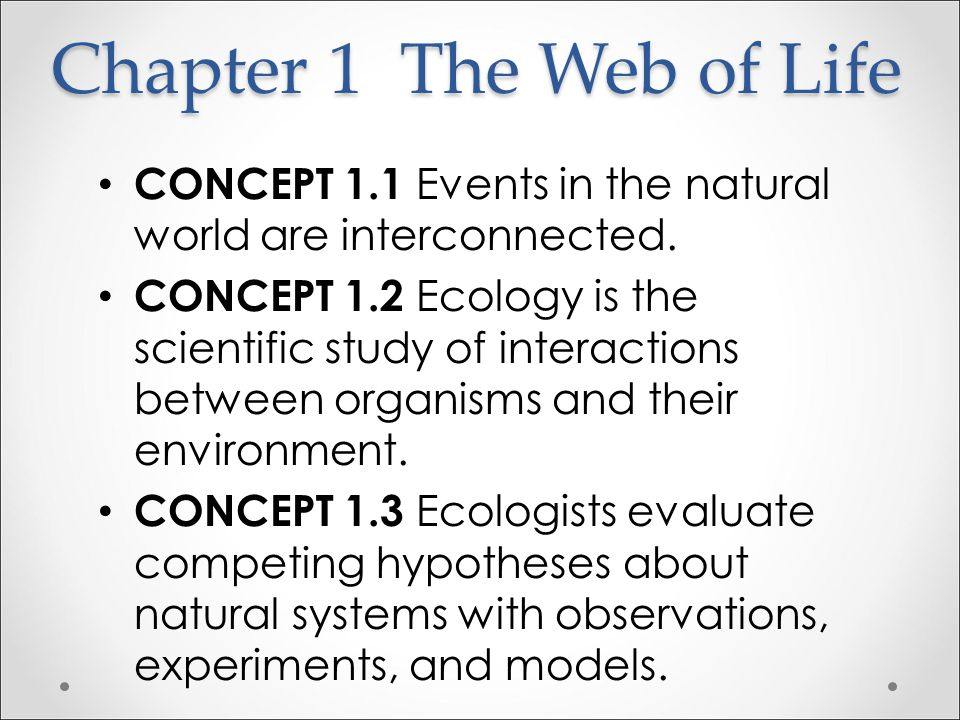 Chapter 1 The Web of Life CONCEPT 1.1 Events in the natural world are interconnected.