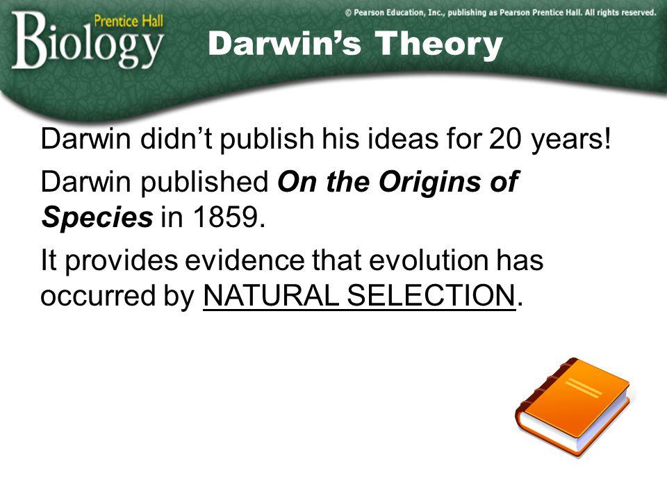 Darwin's Theory Darwin didn't publish his ideas for 20 years!