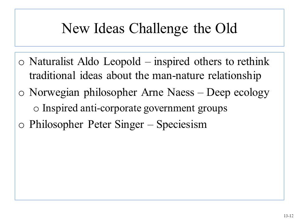 New Ideas Challenge the Old