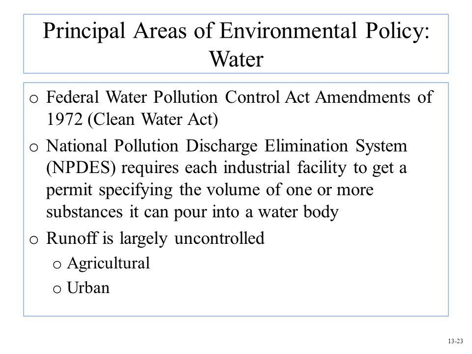 Principal Areas of Environmental Policy: Water