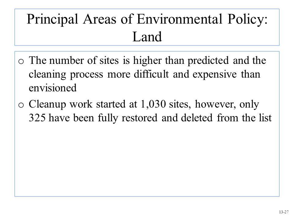 Principal Areas of Environmental Policy: Land