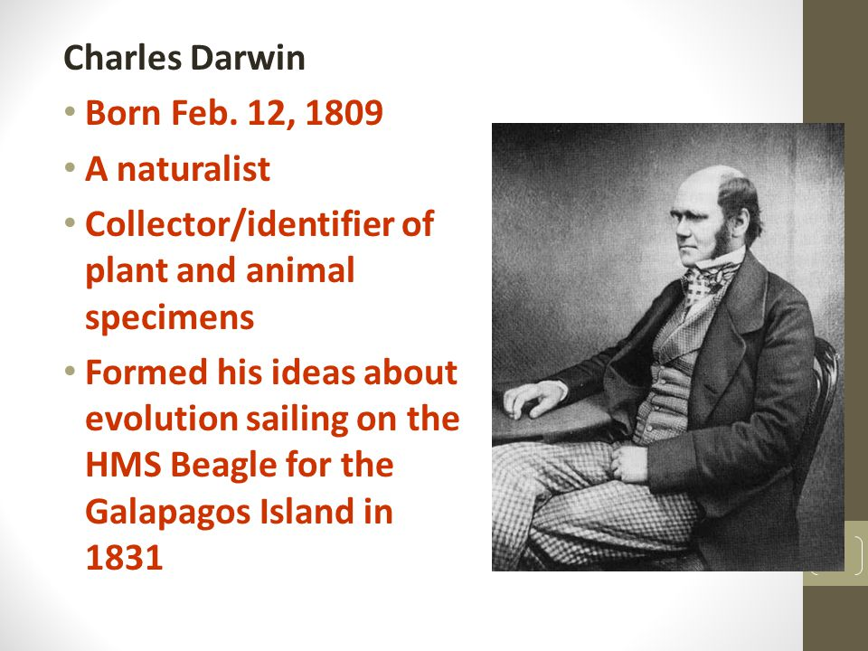 Charles Darwin Born Feb. 12, 1809. A naturalist. Collector/identifier of plant and animal specimens.