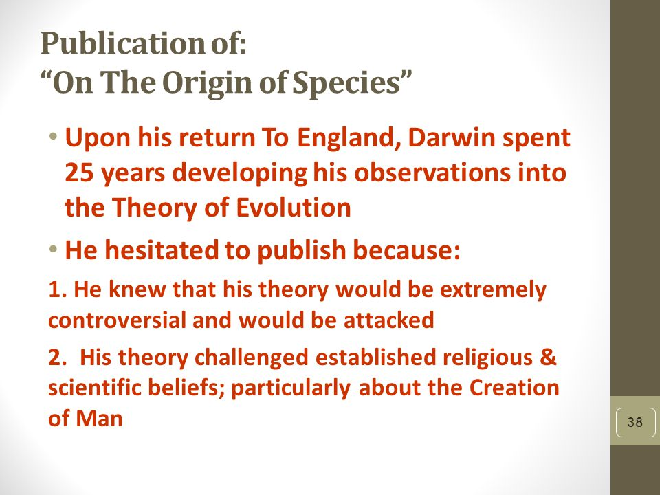 Publication of: On The Origin of Species
