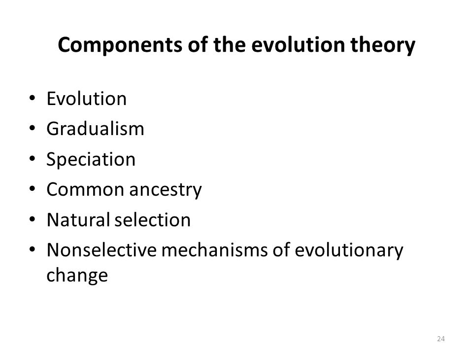 Components of the evolution theory