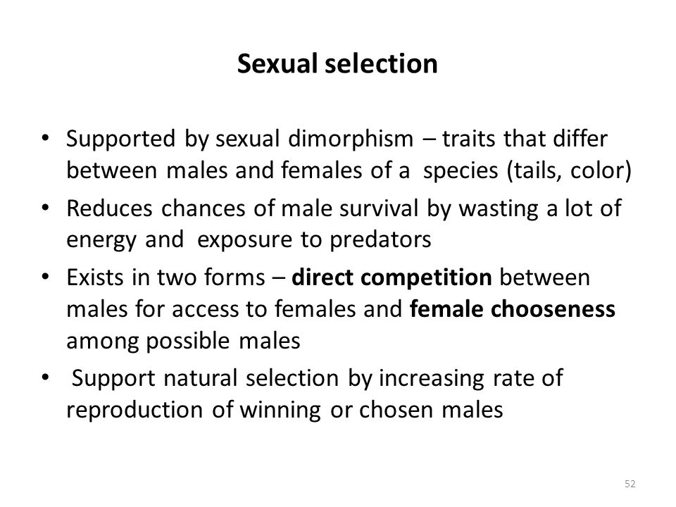 Sexual selection Supported by sexual dimorphism – traits that differ between males and females of a species (tails, color)