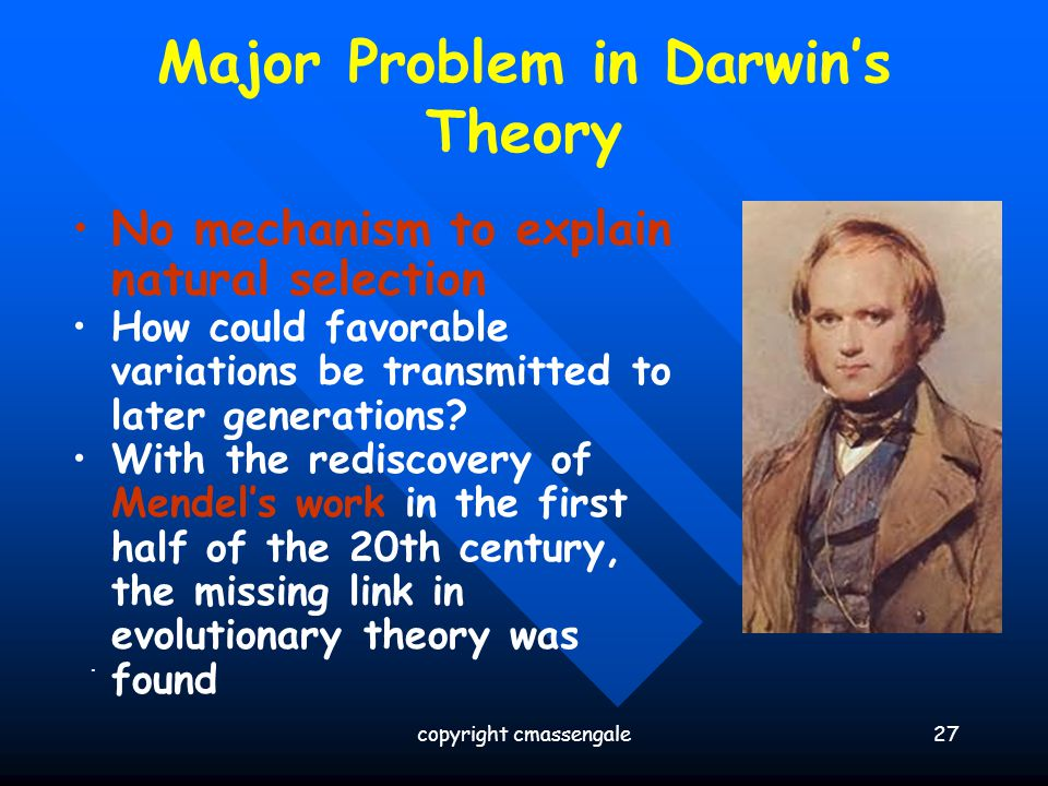 Major Problem in Darwin's Theory