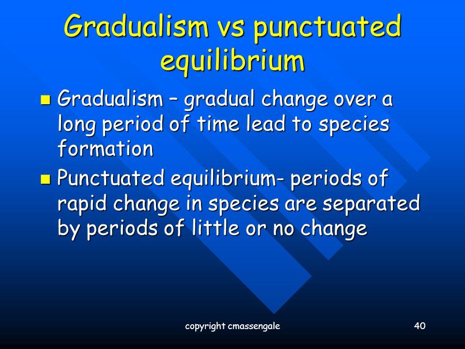 Gradualism vs punctuated equilibrium