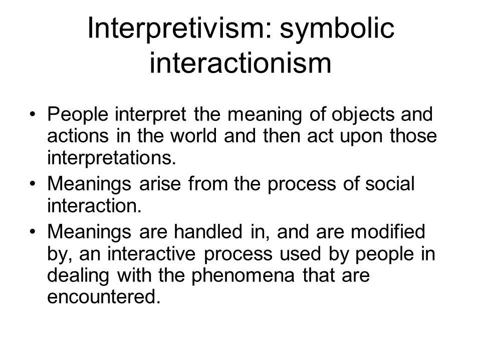 Interpretivism: symbolic interactionism
