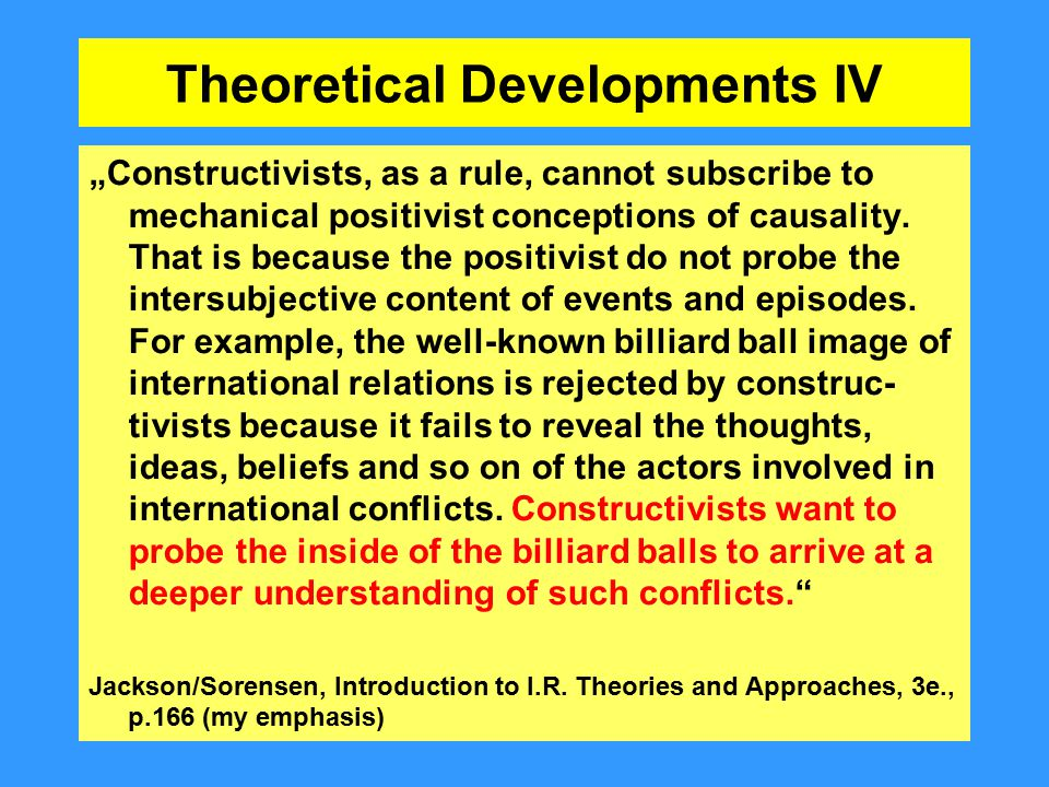 Theoretical Developments IV