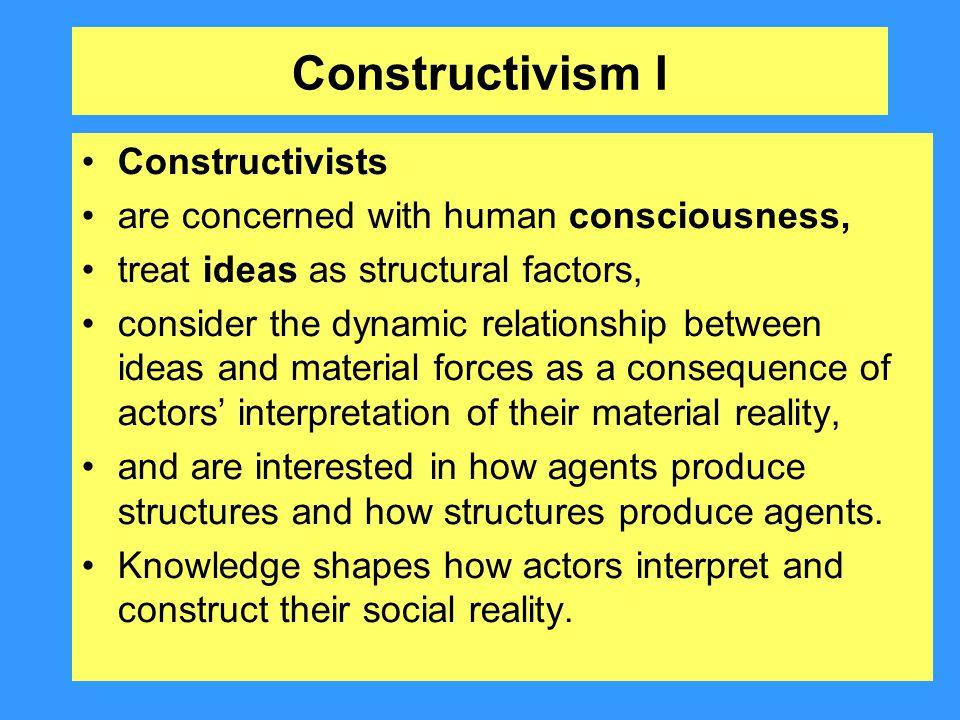 Constructivism I Constructivists
