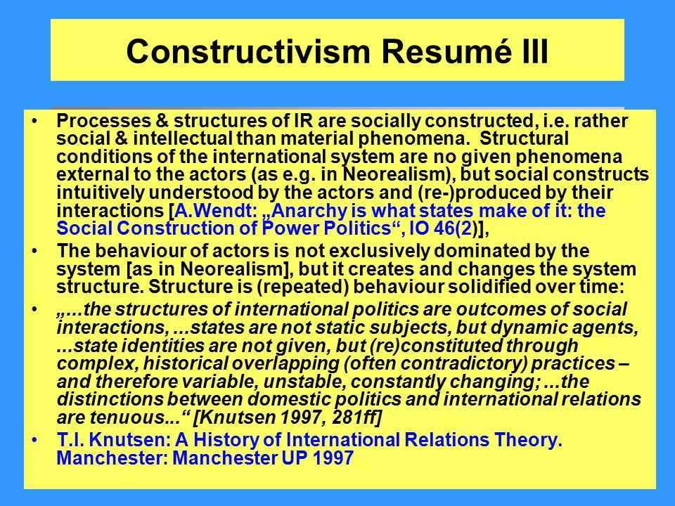 Constructivism Resumé III
