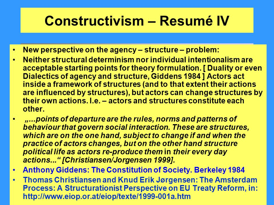 Constructivism – Resumé IV