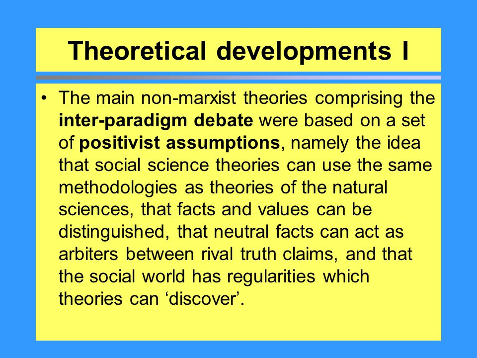 Theoretical developments I