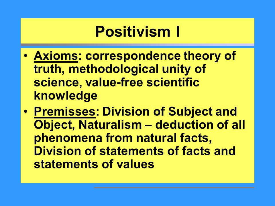 individual positivism Positivism & post-positivism let's start our very brief discussion of philosophy of science with a simple distinction between epistemology and methodology  the term epistemology comes from the greek word epistêmê, their term for knowledge.