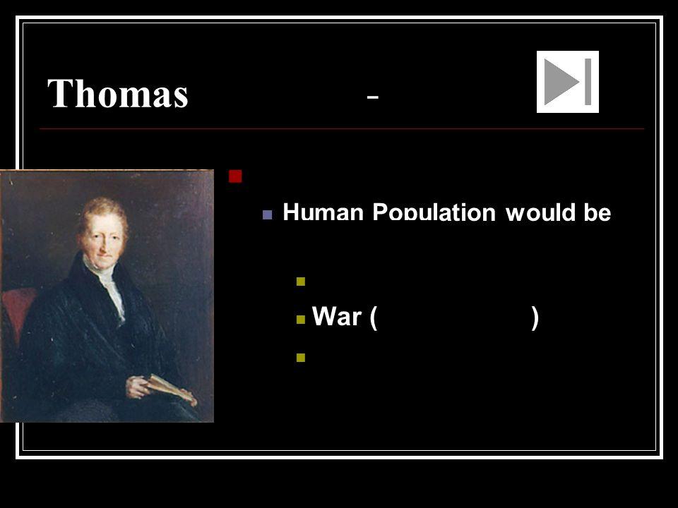 Thomas Malthus – Economist Starvation War (Competition) Disease