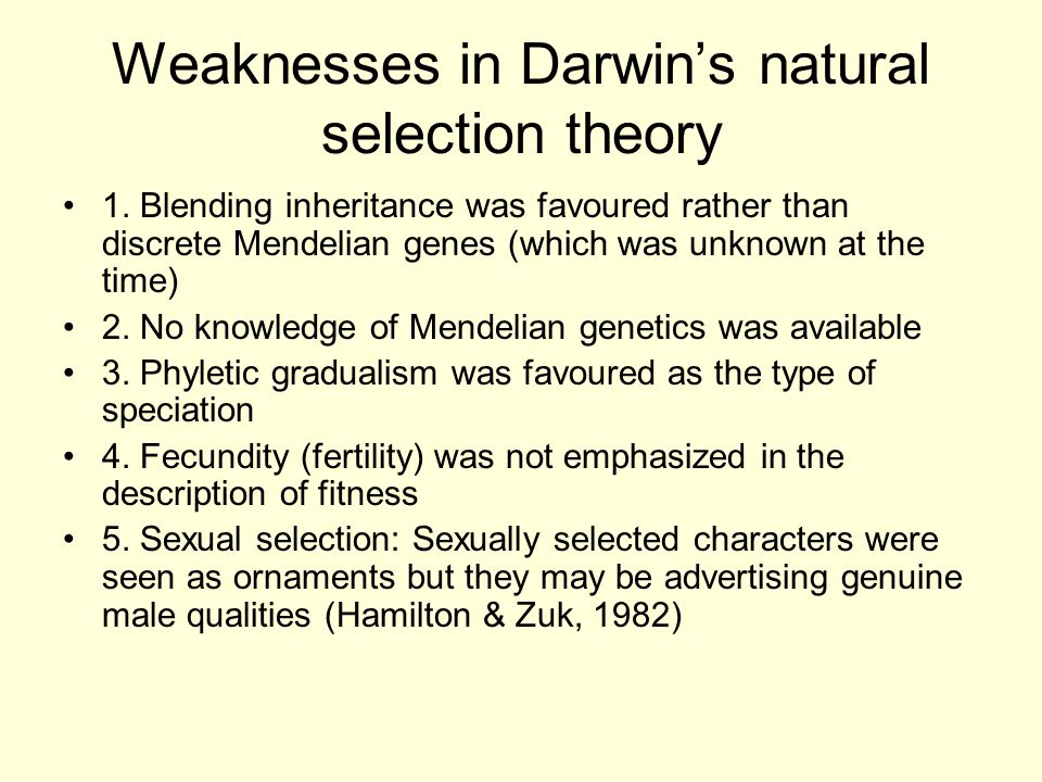 Weaknesses in Darwin's natural selection theory