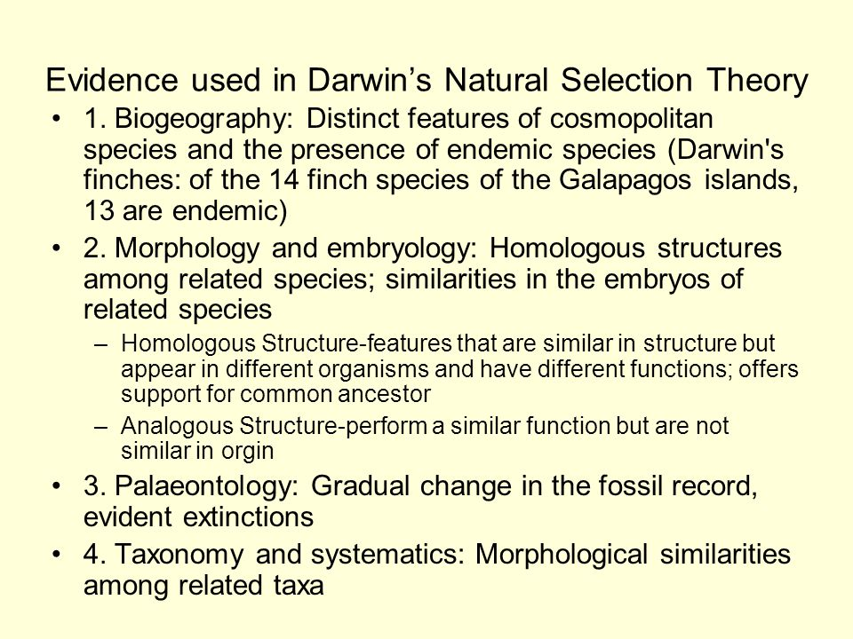 Evidence used in Darwin's Natural Selection Theory