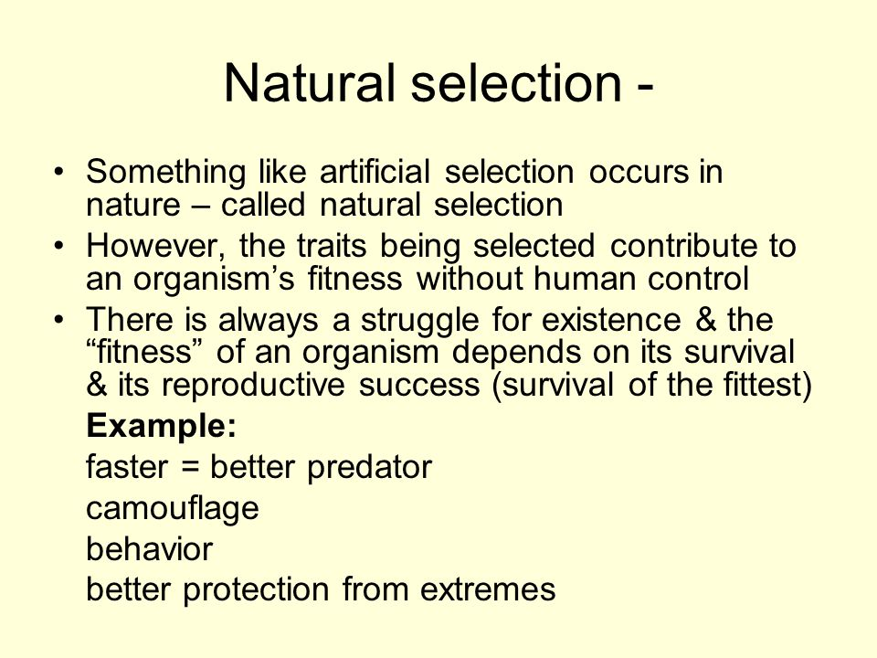 Natural selection - Something like artificial selection occurs in nature – called natural selection.