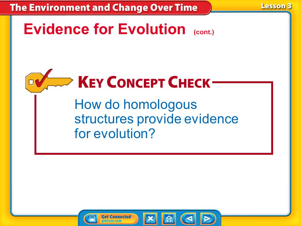 Evidence for Evolution (cont.)