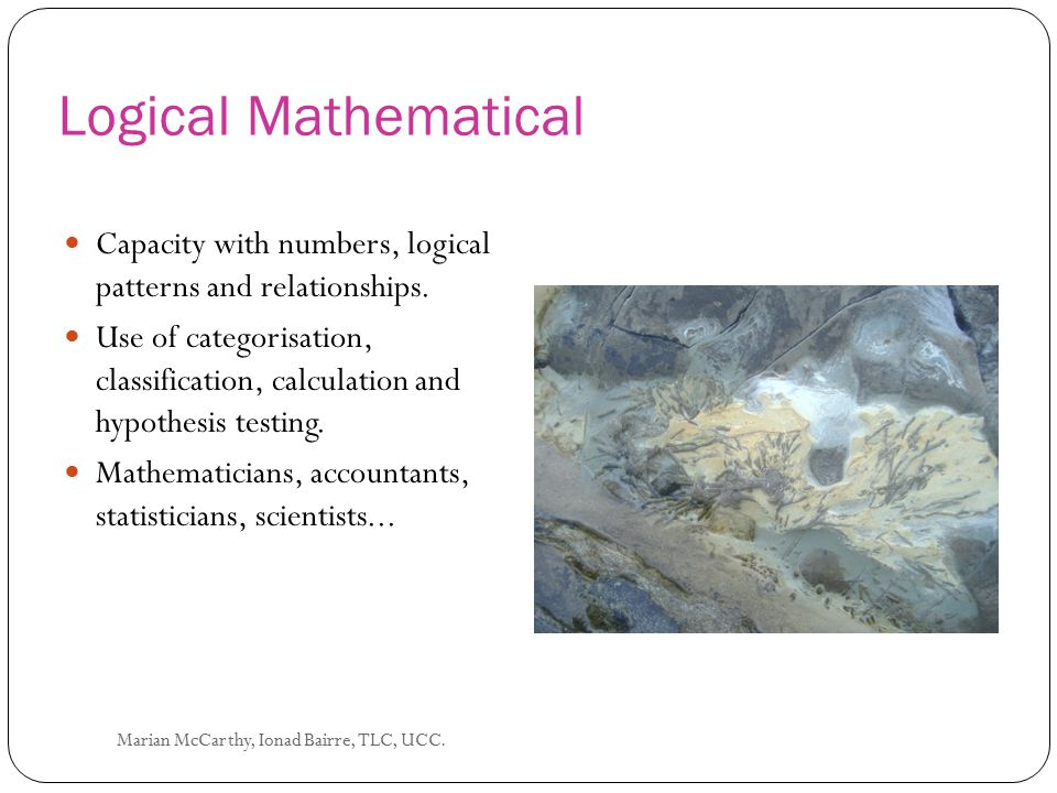 Logical Mathematical Capacity with numbers, logical patterns and relationships.