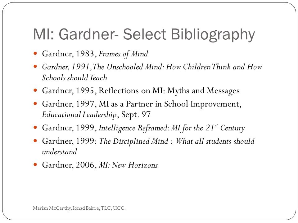 MI: Gardner- Select Bibliography