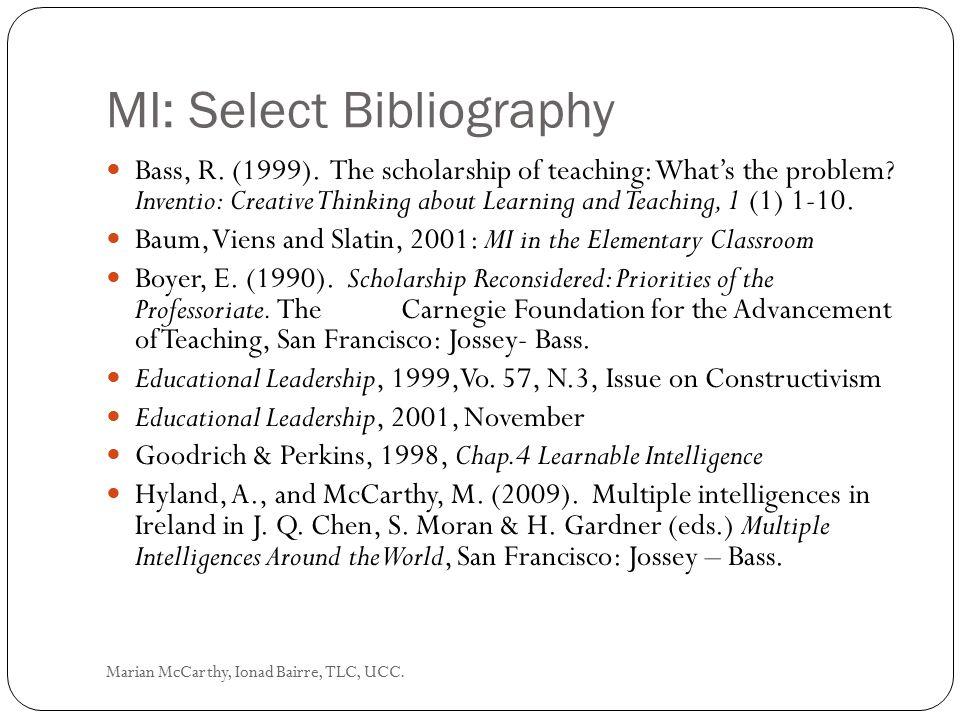MI: Select Bibliography